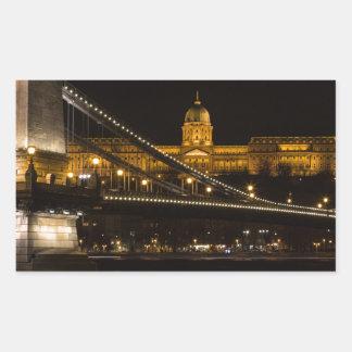 Pegatina Rectangular Puente de cadena con el castillo Hungría Budapest