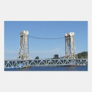 Pegatina Rectangular Puente de elevación del lago Portage