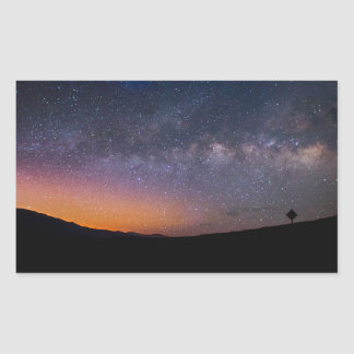 Pegatina Rectangular Puesta del sol de la vía láctea de Death Valley