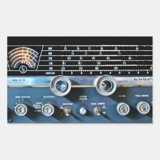 Pegatina Rectangular Receptor de radio de la onda corta del vintage