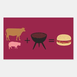 Pegatina Rectangular Receta de la hamburguesa del tocino