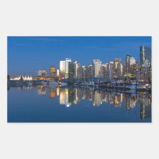 Pegatina Rectangular Reflexión azul de la hora de Vancouver A.C.