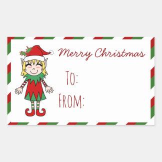 Pegatina Rectangular Regalo de las Felices Navidad del chica del duende