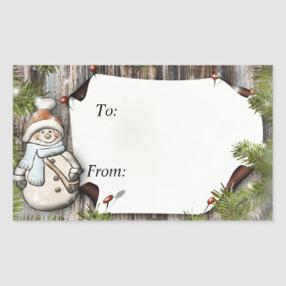 Pegatina Rectangular Regalo de Navidad a y desde etiquetas