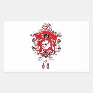 Pegatina Rectangular Reloj de cuco