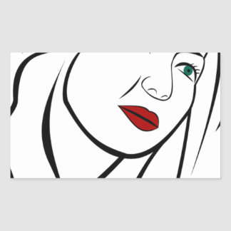 Pegatina Rectangular Retrato femenino