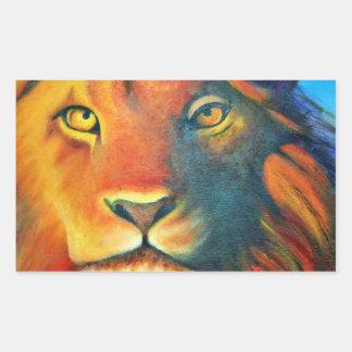 Pegatina Rectangular Retrato hermoso de la cabeza del león real y