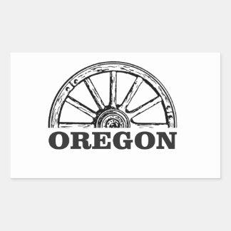 Pegatina Rectangular rueda simple del rastro de Oregon