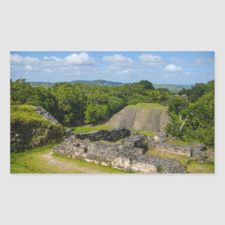 Pegatina Rectangular Ruina maya de Xunantunich en Belice