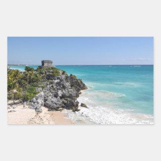 Pegatina Rectangular Ruinas mayas en Tulum México