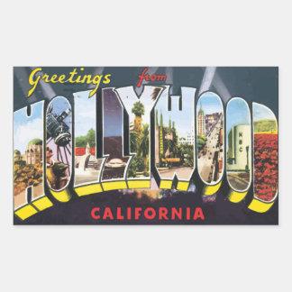 Pegatina Rectangular Saludos de Hollywood California, vintage