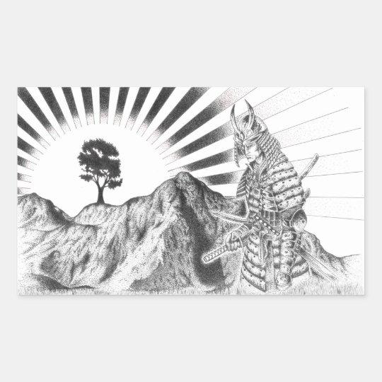 Pegatina Rectangular Samurai warrior and raising sun - M1