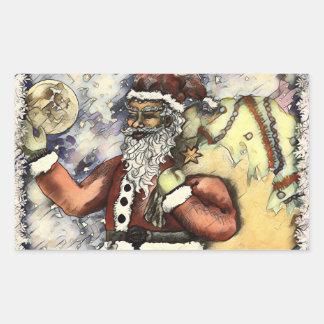 Pegatina Rectangular Santa escarchado
