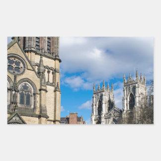 Pegatina Rectangular Santo Wilfrids e iglesia de monasterio de York