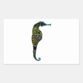 Pegatina Rectangular Seahorse de neón