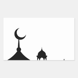 Pegatina Rectangular Silueta de la mezquita