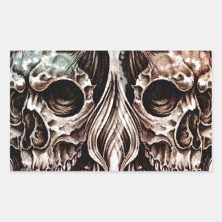 Pegatina Rectangular skull and dragons, Tattoo sketch, handmade design