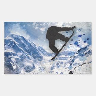 Pegatina Rectangular Snowboarder en vuelo