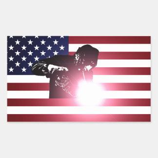 Pegatina Rectangular Soldador y bandera americana