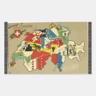 Pegatina Rectangular Souvenir De La Suisse, vintage
