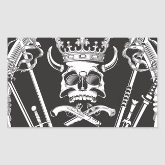 Pegatina Rectangular Sr. Skull