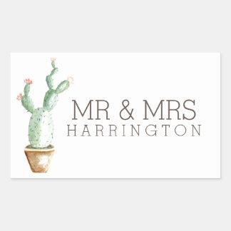 Pegatina Rectangular Sr. y señora de la acuarela el | del cactus