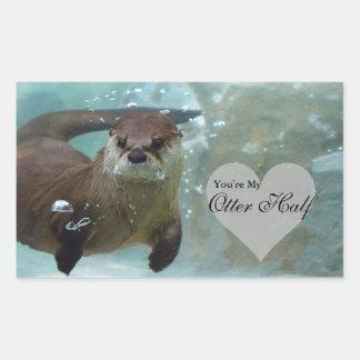 Pegatina Rectangular Su mi media natación de la nutria de río de Brown