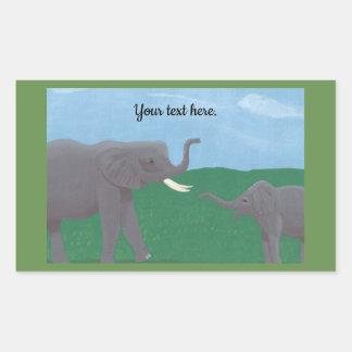 Pegatina Rectangular Su texto, pegatinas del elefante, madre y niño
