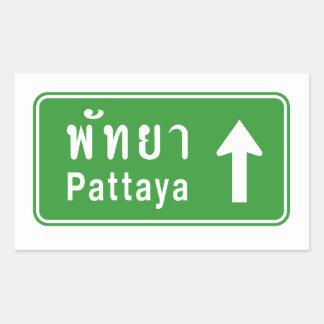 Pegatina Rectangular ⚠ tailandés de la señal de tráfico de la carretera