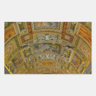 Pegatina Rectangular Techo en el museo de Vatican en Roma Italia
