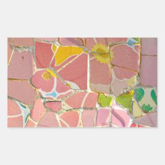 Pegatina Rectangular Tejas rosadas de Parc Guell en Barcelona España