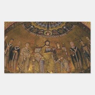 Pegatina Rectangular Templo del arco de la bóveda de la iglesia
