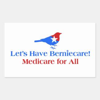 Pegatina Rectangular Tengamos Berniecare - Seguro de enfermedad para