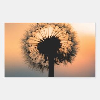 Pegatina Rectangular The Sunset and the Fragile Dandelion