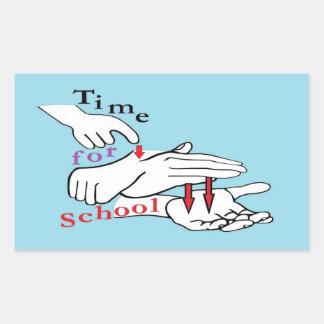Pegatina Rectangular Tiempo del ASL para la escuela