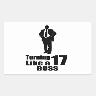 Pegatina Rectangular Torneado de 17 como Boss