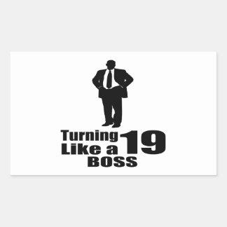 Pegatina Rectangular Torneado de 19 como Boss