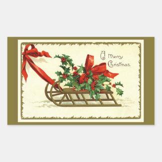 Pegatina Rectangular Trineo de oro del navidad del vintage