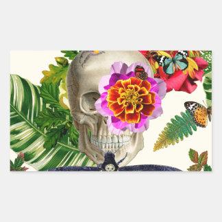 Pegatina Rectangular Tropical Skull