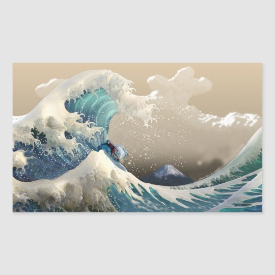 Pegatina Rectangular tsunami surf