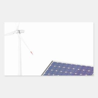 Pegatina Rectangular Turbina de viento y el panel solar