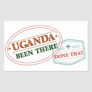 Pegatina Rectangular Uganda allí hecho eso