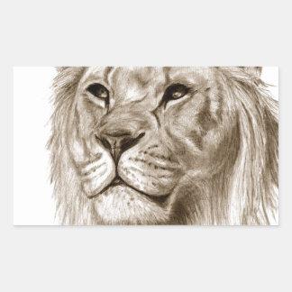 Pegatina Rectangular Un león - sin arte del bosquejo del dibujo del