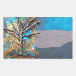 Pegatina Rectangular Una colina del árbol