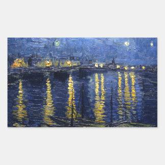 Pegatina Rectangular Van Gogh: Noche estrellada sobre el Rhone