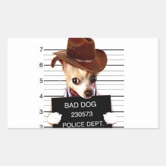 Pegatina Rectangular vaquero de la chihuahua - perro del sheriff