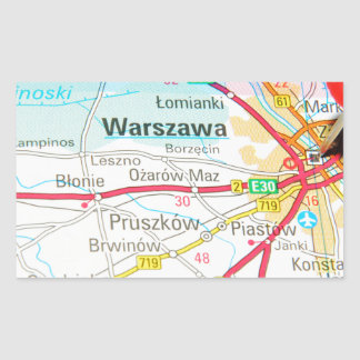 Pegatina Rectangular Varsovia, Varsovia en Polonia