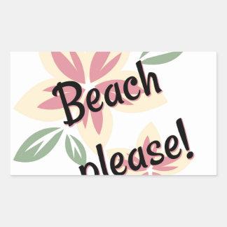 Pegatina Rectangular Verano floral - playa por favor