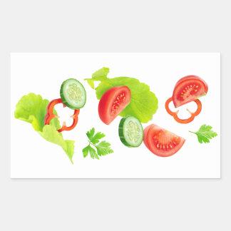 Pegatina Rectangular Verduras frescas que caen