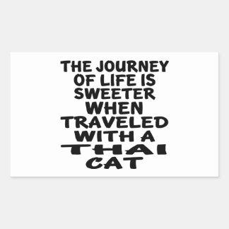 Pegatina Rectangular Viajado con el gato tailandés